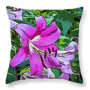 Pink And Sassy...line Art Throw Pillow