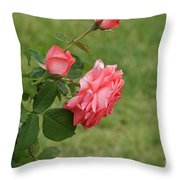 Pink And White Blended Stem Throw Pillow