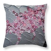 Pink And White Cherry Blossom Throw Pillow