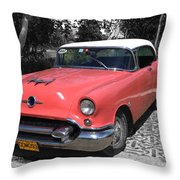 Pink And White Cuban Taxi Throw Pillow