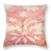 Pink And White Cup Cakes Throw Pillow