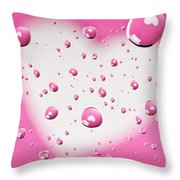 Pink And White Heart Reflections In Water Droplets Throw Pillow