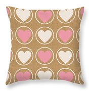 Pink And White Hearts Throw Pillow