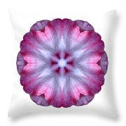 Pink And White Impatiens I Flower Mandala White Throw Pillow