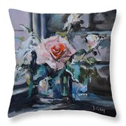 Pink And White Roses In Silver Mug Throw Pillow