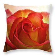 Pink And Yellow Rose - Digital Paint Throw Pillow