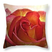 Pink And Yellow Rose With Water Drops Throw Pillow