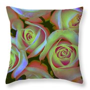 Pink And Yellow Roses Pop Art Throw Pillow