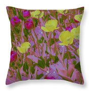 Pink And Yellow Tulips Pop Art Throw Pillow