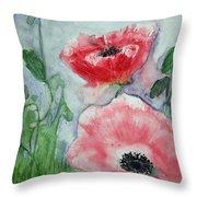 Pink Anemones Throw Pillow