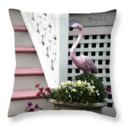 Pink At The Shore House Throw Pillow
