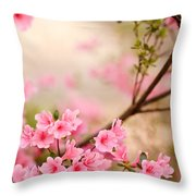 Pink Azalea Bush Throw Pillow