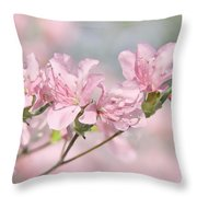 Pink Azalea Flowers In The Spring Throw Pillow