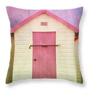 Pink Beach Hut Throw Pillow