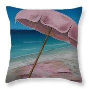 Pink Beach Umbrella Throw Pillow