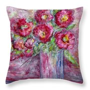 Pink Beauties In A Blue Crystal Vase Throw Pillow