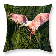 Pink Bird Flying - Spoonbill Coming In For A Landing Throw Pillow