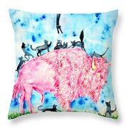 Pink Bison And Black Cats Throw Pillow