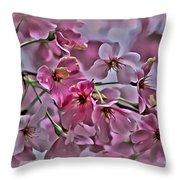 Pink Blossoms - Paint Throw Pillow