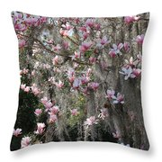 Pink Blossoms And Gray Moss Throw Pillow