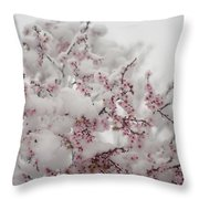 Pink Spring Blossoms In The Snow Throw Pillow
