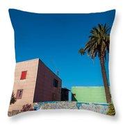 Pink Building In Historic Neighborhood Throw Pillow