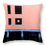 Pink Building On The Wharf Throw Pillow