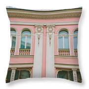 Pink Building Throw Pillow