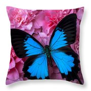 Pink Camilla And Blue Butterfly Throw Pillow