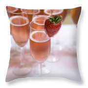 Pink Champagne And Strawberry Throw Pillow
