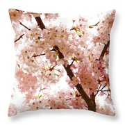 Pink Cherry Blossoms - Impressions Of Spring Throw Pillow