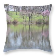 Pink Cherry Reflections Throw Pillow