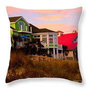 Pink Clouds At Isle Of Palms Throw Pillow