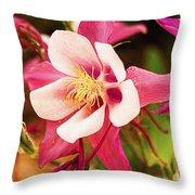Pink Columbines Throw Pillow