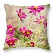 Pink Cosmos Throw Pillow