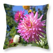 Pink Dahlia Flower Closeup Throw Pillow