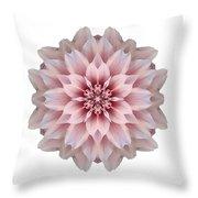 Pink Dahlia I Flower Mandala White Throw Pillow