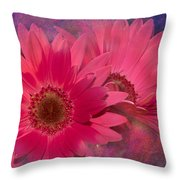 Pink Daisies Abstract Throw Pillow