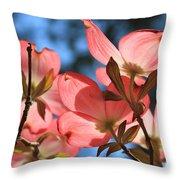 Transparent Glory Pink Dogwood Easter Flower Art Throw Pillow