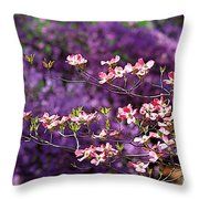 Pink Dogwood With Purple Azaleas Throw Pillow