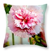Pink Double Hollyhock Throw Pillow
