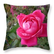 Pink Double Rose Throw Pillow