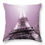 Pink Eiffel Tower Paris Throw Pillow
