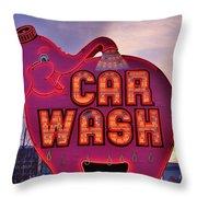 Pink Elephant Car Wash Throw Pillow