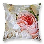 Pink English Rose Among White Roses Art Prints Throw Pillow