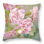 Pink Fairy Roses Throw Pillow