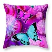 Pink Fantasy Flower Throw Pillow