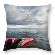 Pink Fins On Dock Throw Pillow