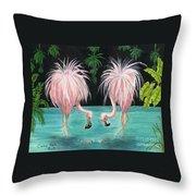 Pink Flamingo Booty Tropical Birds Art Cathy Peek Throw Pillow