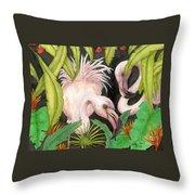 Pink Flamingos Jungle Cathy Peek Tropical Bird Art Throw Pillow